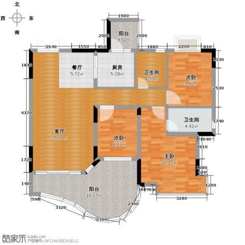 恒大城3室1厅2卫1厨102.63㎡户型图