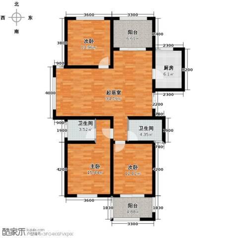 天顺御河湾3室2厅2卫0厨136.00㎡户型图