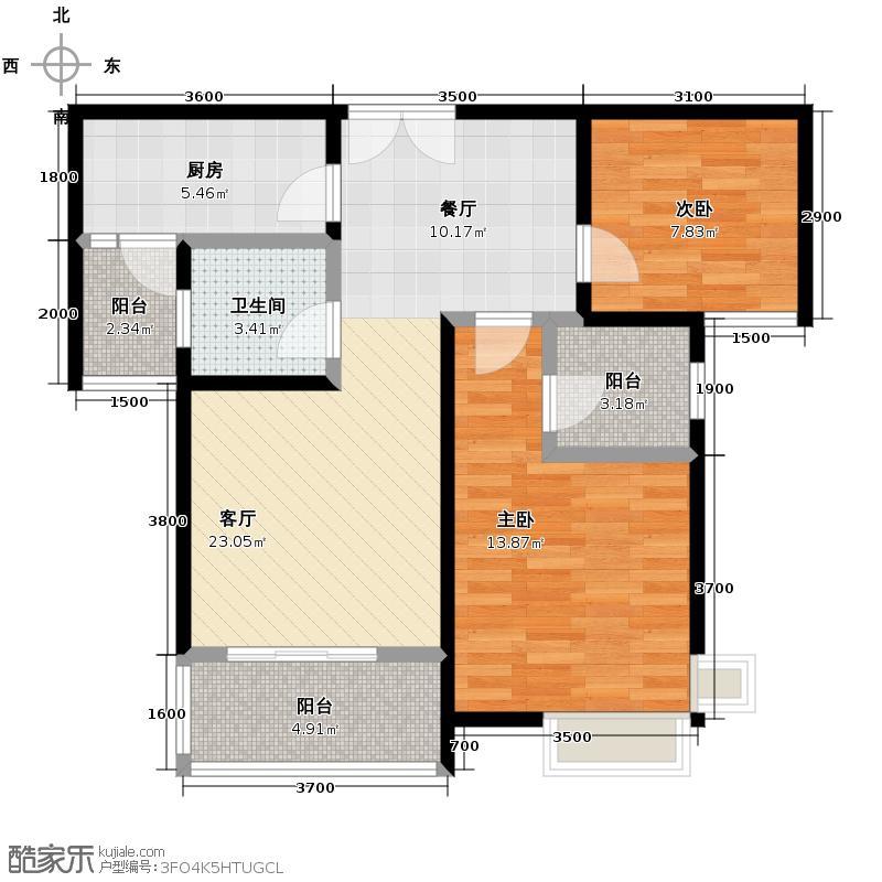 五矿万境水岸89.62㎡C1-2户型2室2厅1卫