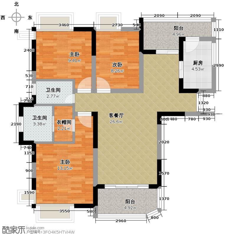 五矿万境水岸128.66㎡B2-3户型3室2厅2卫