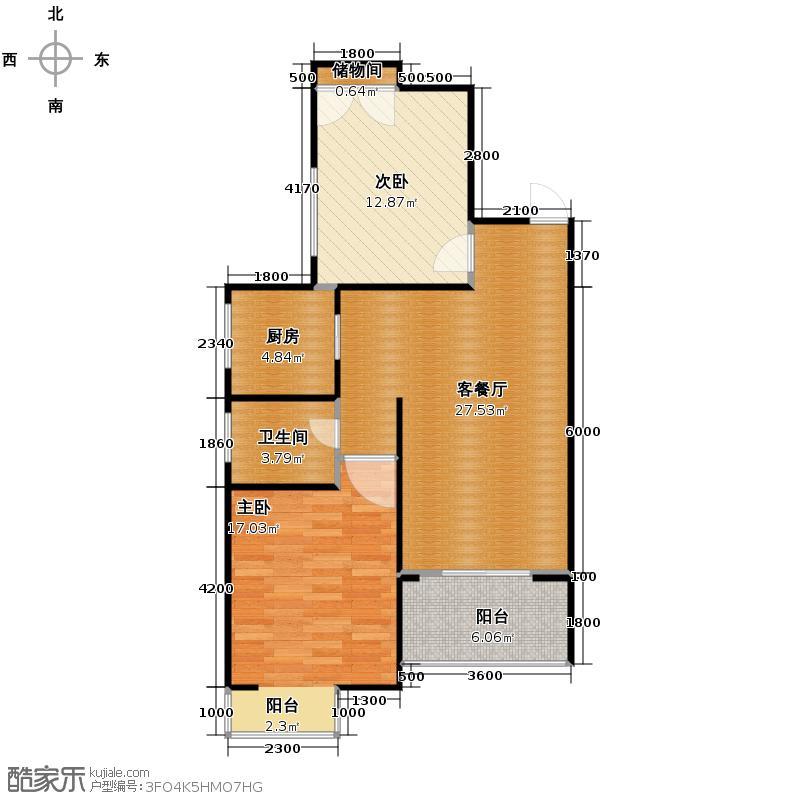 海棠花园92.00㎡1#1单元03/4单元02两室户型2室1厅1卫1厨