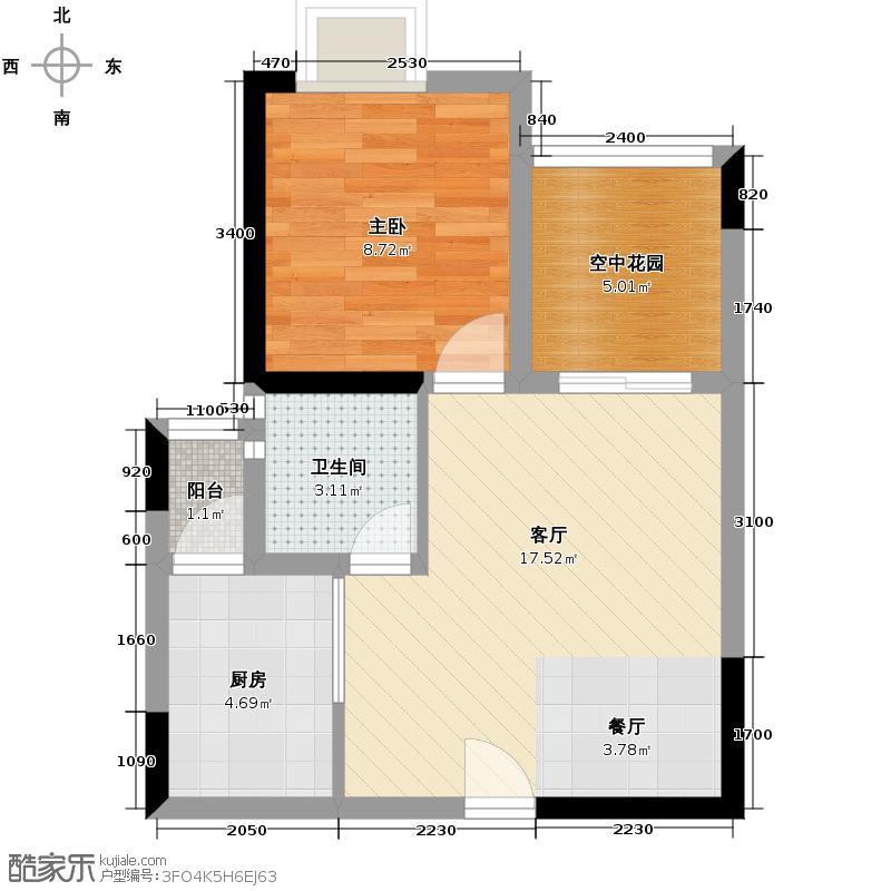 爱加欧郡60.00㎡格林6栋2栋3号房户型1室2厅1卫