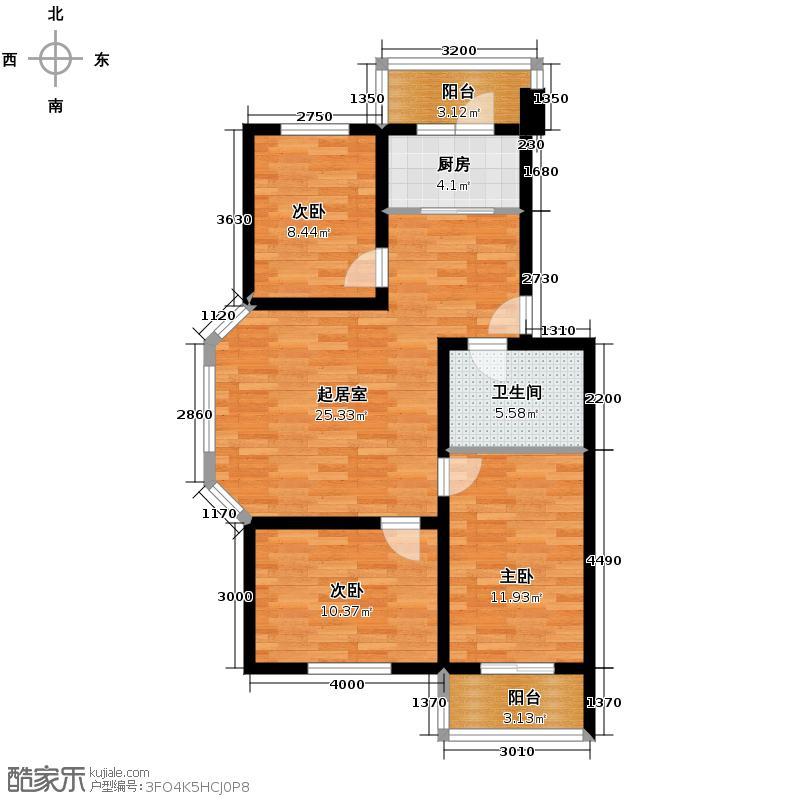 恒益隆庭109.71㎡1号楼标准层G1户型3室2厅1卫