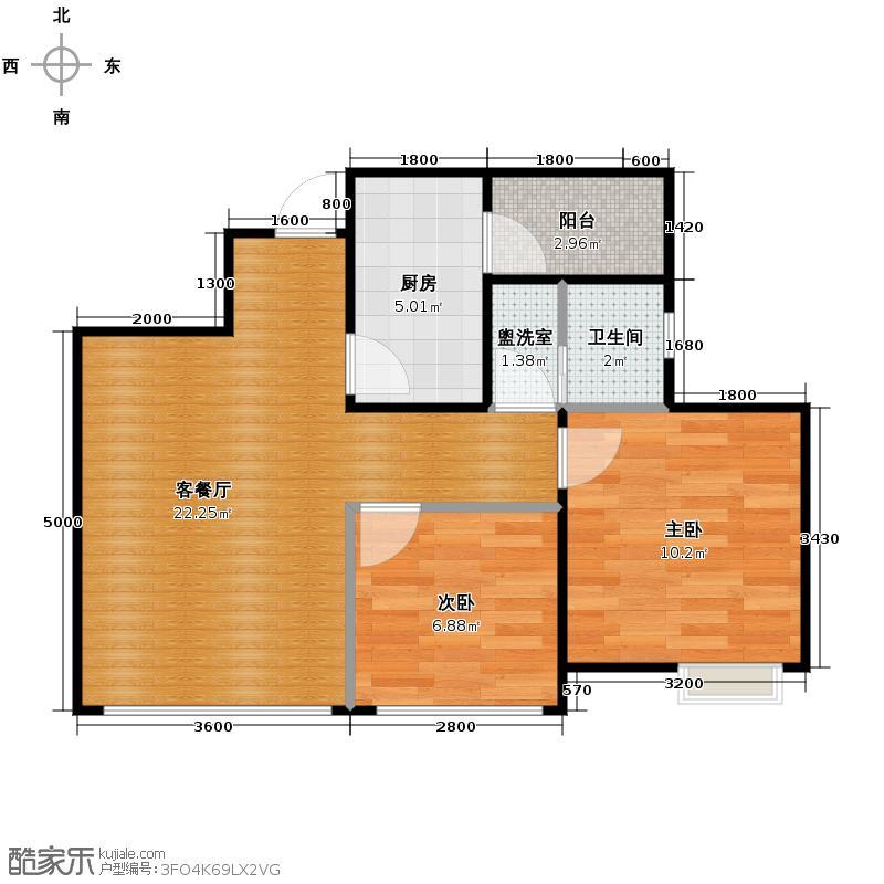 朗诗绿色街区65.39㎡C1()户型2室1厅1卫1厨
