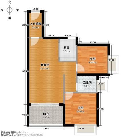 南沙创鸿汇2室2厅1卫0厨78.00㎡户型图
