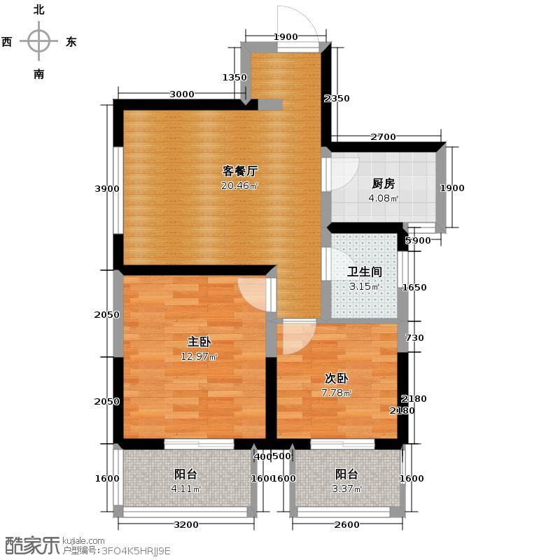 高新左岸82.19㎡D户型2室1厅1卫1厨