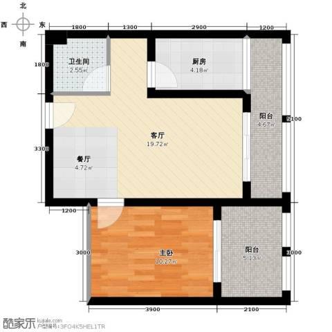 羲城蓝湾1室1厅1卫1厨54.72㎡户型图