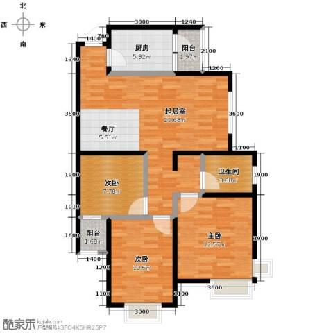 滨海智谛山3室1厅1卫0厨105.00㎡户型图