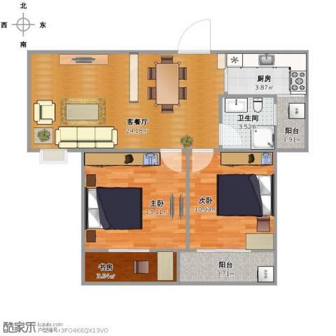 佳源・名人国际花园3室1厅1卫1厨88.00㎡户型图
