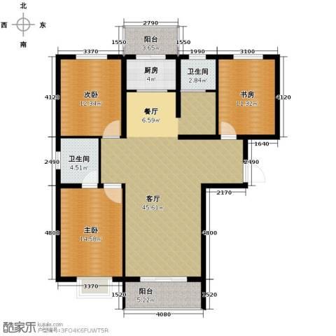 恒益翠芳庭3室1厅2卫1厨146.00㎡户型图