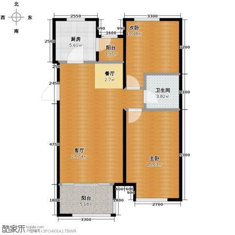 尚湖名筑2室1厅1卫1厨97.00㎡户型图