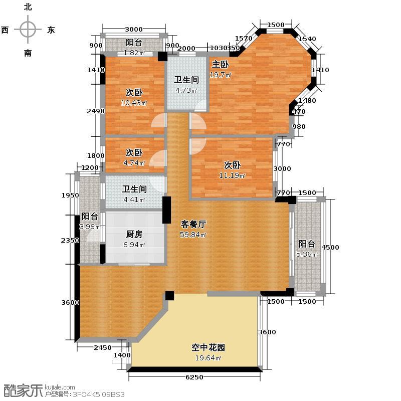 中华名园148.19㎡A型户型4室1厅2卫1厨