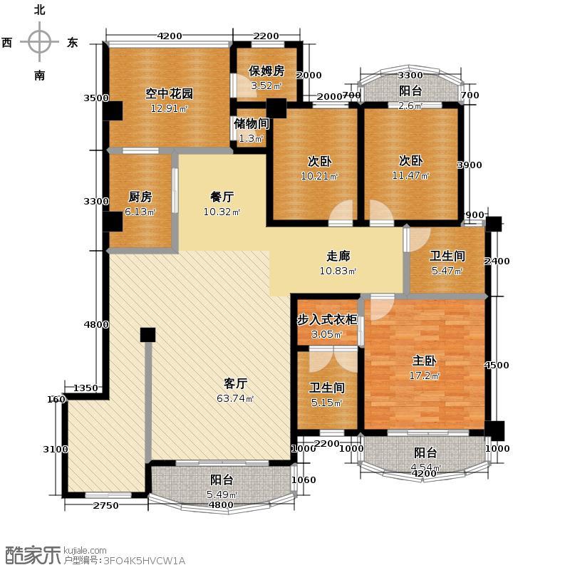 中华名园195.64㎡G型户型3室1厅2卫1厨