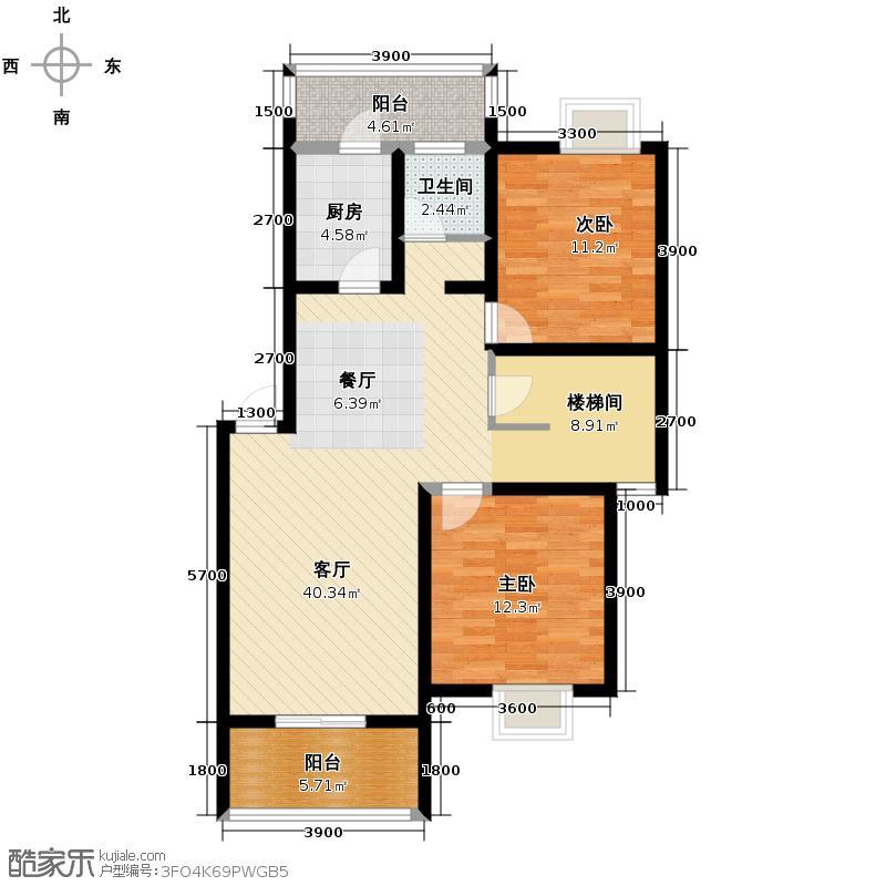 东方威尼斯148.00㎡33栋B8户型3室3厅2卫