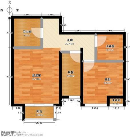 溪谷港湾2室0厅1卫1厨62.00㎡户型图