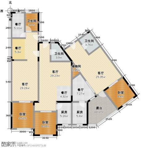 绿地新里中央公馆5厅3卫2厨155.46㎡户型图