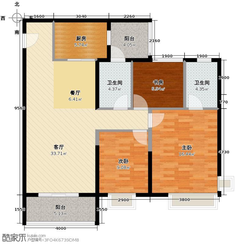 锦绣天伦花园105.00㎡13座3梯01户型3室2厅2卫
