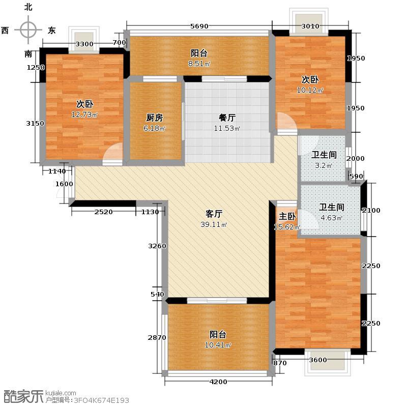 伟梦清水湾东方院135.00㎡B15-8#户型3室2厅2卫