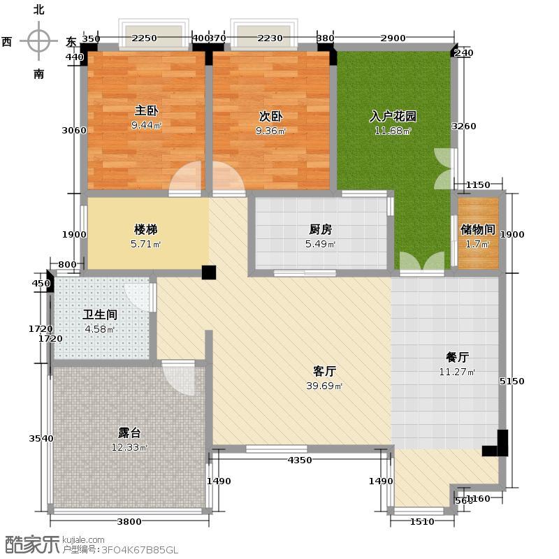 白兰丽舍122.00㎡G3户型2室2厅1卫
