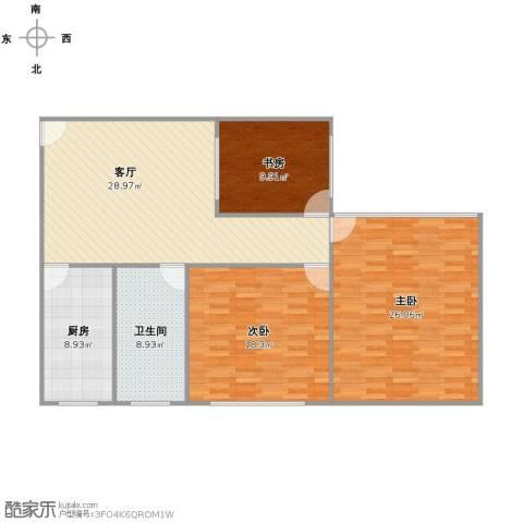 兴都大楼3室1厅1卫1厨134.00㎡户型图