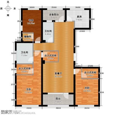 绿城玉兰花园3室2厅2卫0厨167.00㎡户型图