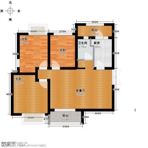 中环岛3室2厅1卫0厨80.81㎡户型图