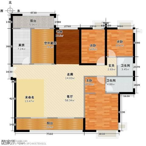 金域中央天玺3室1厅2卫1厨185.00㎡户型图
