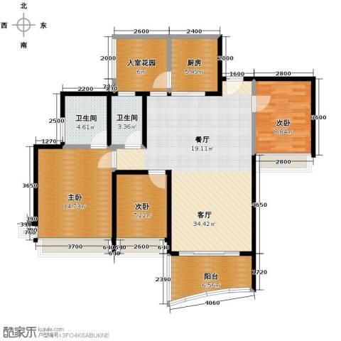 广州雅居乐花园3室1厅2卫1厨119.00㎡户型图