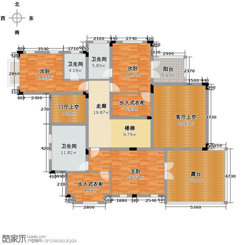 中国美林湖190.46㎡M-2别墅二层户型10室