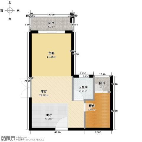 汇景・上层1厅1卫1厨52.00㎡户型图