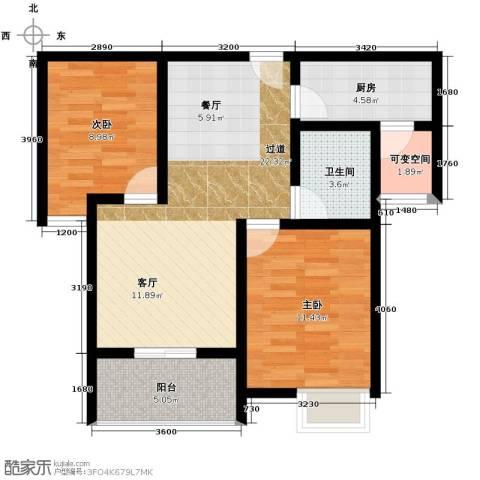 比克橄榄湾2室2厅1卫0厨81.00㎡户型图