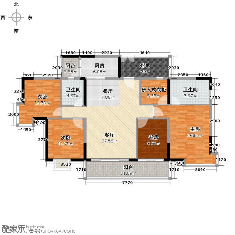 翡翠绿洲165.00㎡凡尔赛庄园8栋标准层01+02单元户型10室