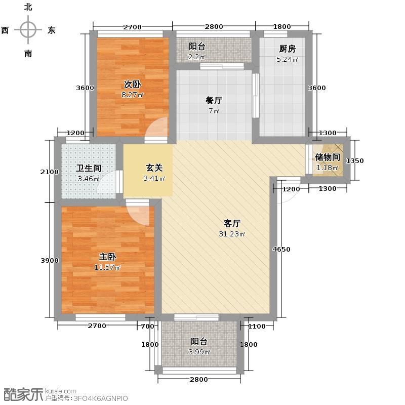 藏龙星天地86.58㎡一期D1-a户型2室1厅1卫1厨