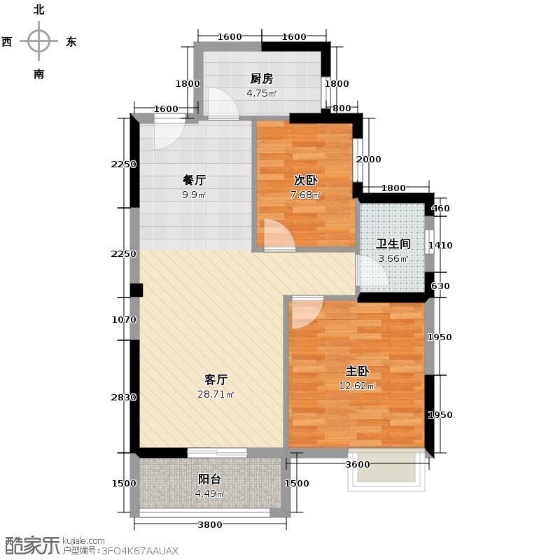 外滩三阳金城92.00㎡1-2户型2室1厅1卫1厨