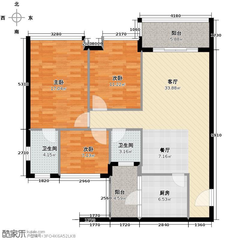 阳光新城104.68㎡户型3室1厅2卫1厨