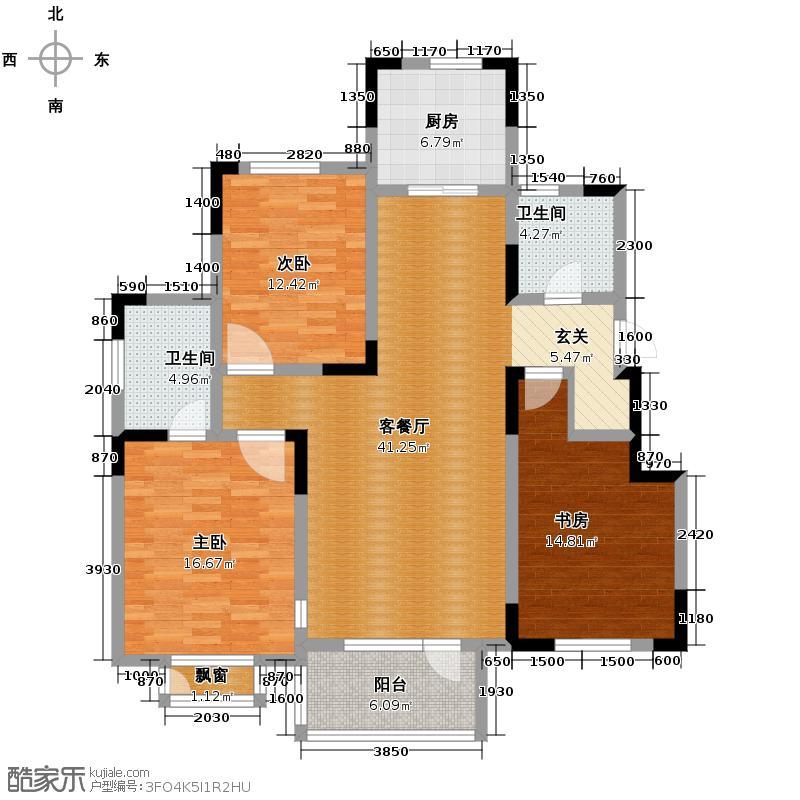 津滨藏锦143.00㎡3-C户型3室2厅2卫