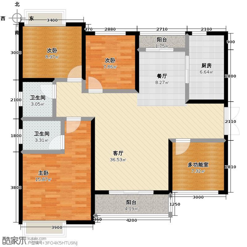 云栖谷124.00㎡21号楼A户型3室1厅2卫1厨