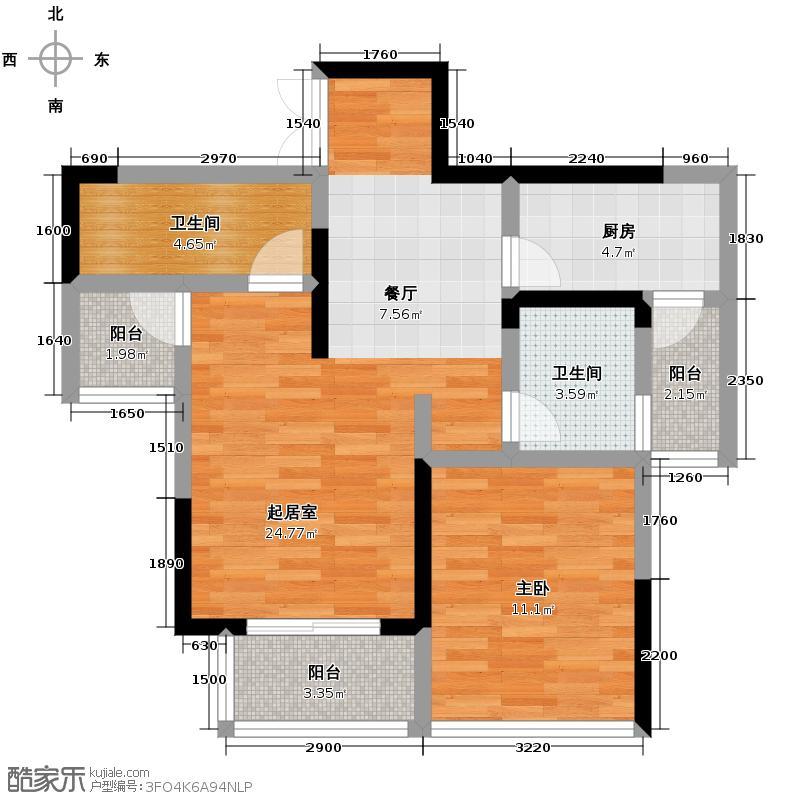 中渝春华秋实61.00㎡4/5+可变空间户型2室2厅1卫