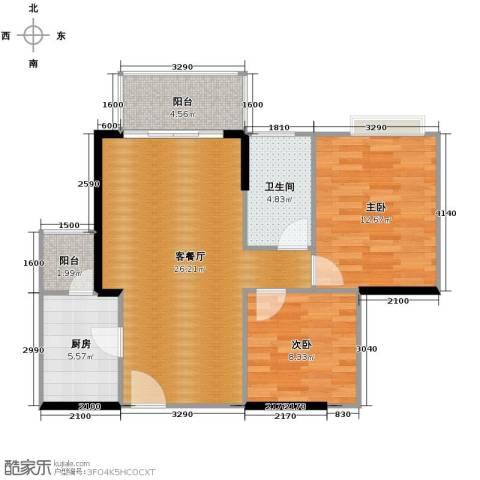 金辉苹果城2室1厅1卫1厨64.15㎡户型图