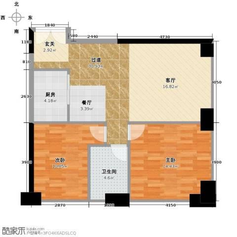 保利中汇广场2室0厅1卫1厨91.00㎡户型图