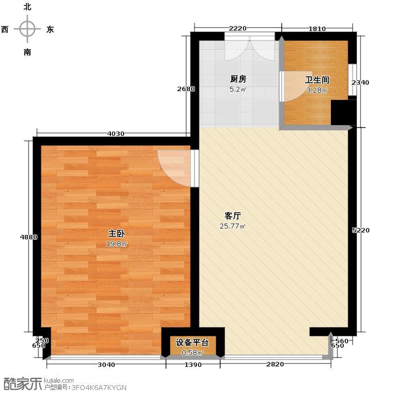 摩玛新城54.84㎡E户型1室1厅1卫
