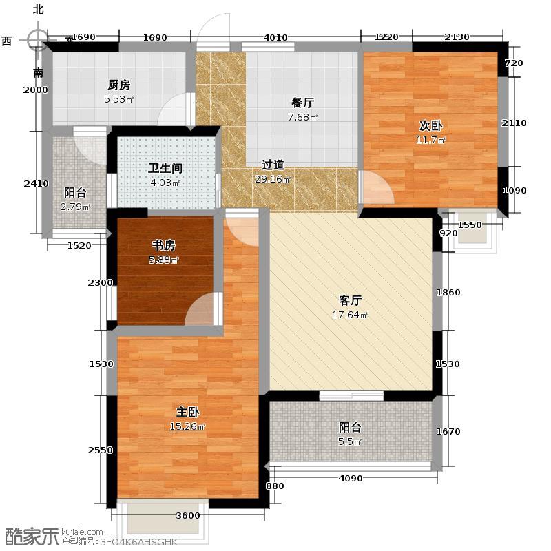海山金谷107.35㎡A2户型3室1卫1厨