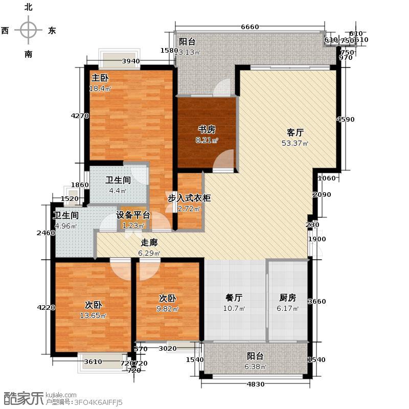 中铁西城159.00㎡平层标准层户型4室2厅2卫