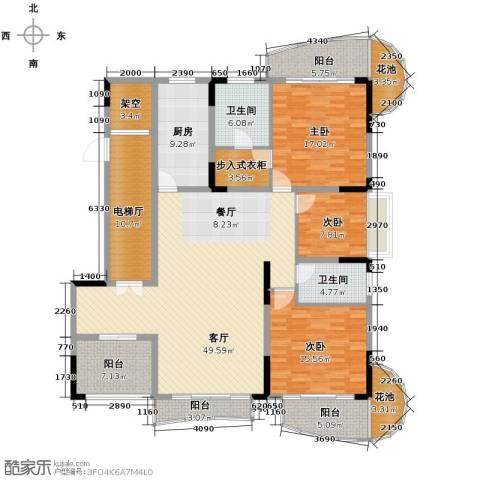 大学城馨园3室1厅2卫1厨175.00㎡户型图