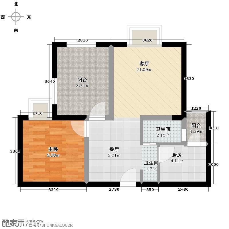 正基城市主场54.69㎡户型1室1厅1卫1厨