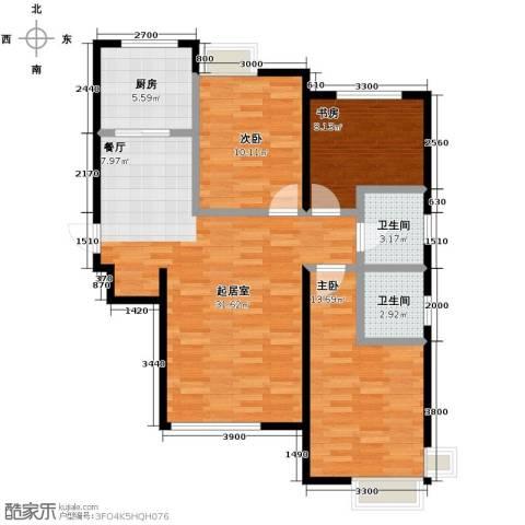 学仕府花园3室2厅2卫0厨118.00㎡户型图