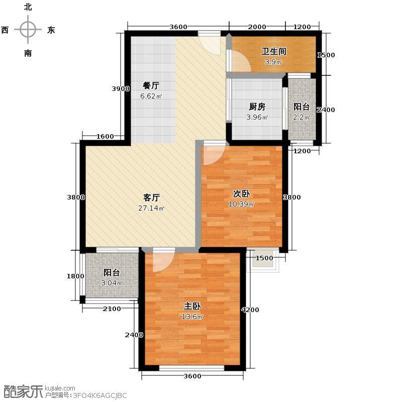 长房时代城86.87㎡B-2户型2室2厅1卫