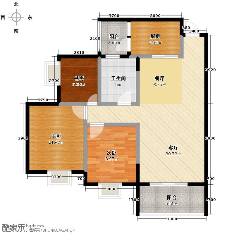 银锣湾85.54㎡B3户型3室1厅1卫1厨
