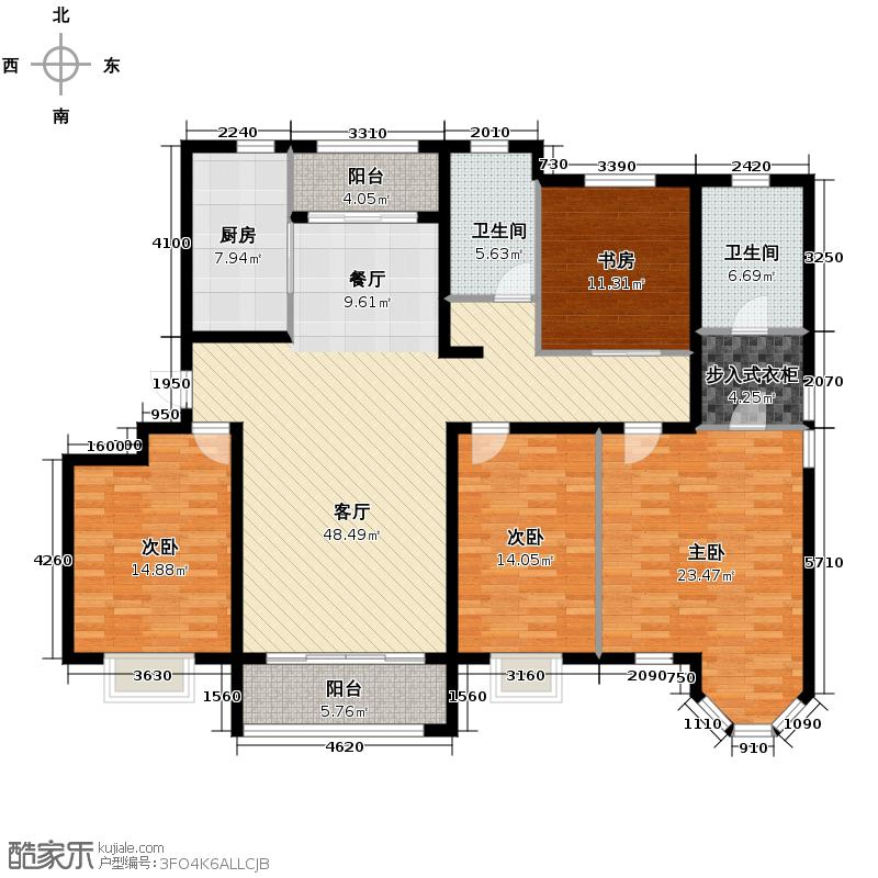 保利玫瑰湾170.00㎡洋房G3户型4室2厅2卫