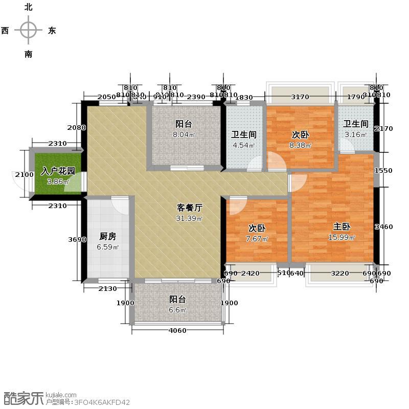 达美D6区117.00㎡A4户型3室2厅2卫